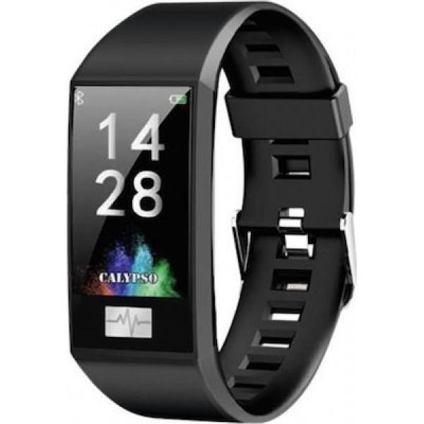 Ρολόι Calypso Smartwatch με μαύρο καουτσούκ λουράκι και έξτρα κόκκινο καουτσούκ Smartime K8500 Μαύρο