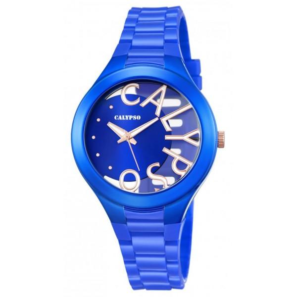 Ρολόι Calypso με μπλε λουράκι και καντράν K5678/7
