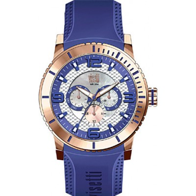 Visetti New Era Rose Gold Blue Rubber Strap PE-750RC